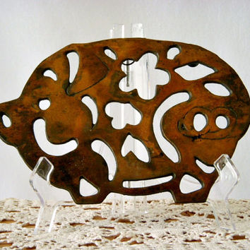 Rustic Kitchen Copper and Cast Metal Pig Shaped Footed Trivet, Primitive Pig Wall Hanging