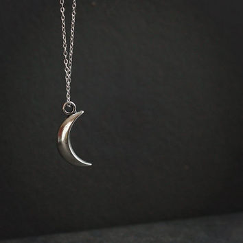 Silver crescent moon necklace - large pendant simple minimalist witch costume modern dainty everyday jewelry - LUNE