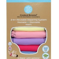 Charlie Banana 2-in-1 Reusable Diapers - 6 Pack - Princess - One Size