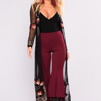 Secret Garden Duster - Black/Red