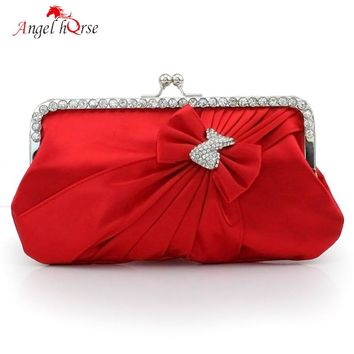 Angel Horse Handbags Women Bags Bow Diamonds Evening Clutch Bags Fashion Cellphone Ladies Shoulder Bags For Wedding Party Best