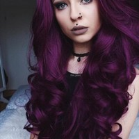 Dark Purple Big Wave Synthetic Lace Front Wig
