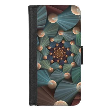 Modern Fractal Art With Depth, Brown, Slate, Blue iPhone 8/7 Wallet Case