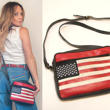 USA Flag Vintage Leather Purse | 90s Biker Unisex Patchwork Leather | July 4th Distressed Crossbody Leather Red White and Blue Purse Handbag