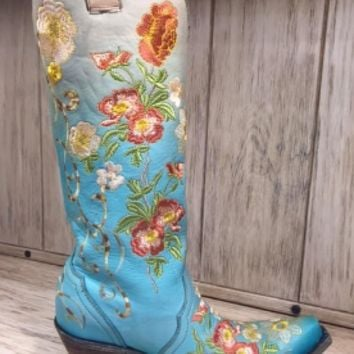 "Corral Turquoise Floral Embroidered ""Dolly"" Boot"