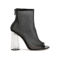 PDXHB NEW YORK FLARED PERSPEX HEELED MESH BOOTS IN BLACK