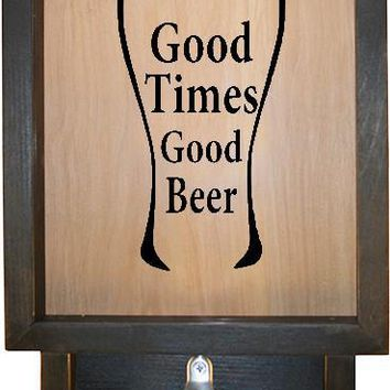 "Wooden Shadow Box Bottle Cap Holder with Bottle Opener 9""x15"" - Good Times Good Beer in Glass"