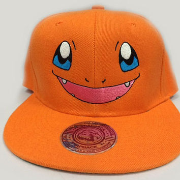Charmander Pokemon Face Embroidered on a hat with Custom text option on the back