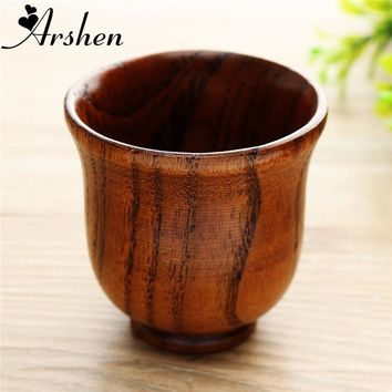 Arshen Eco friendly 80ml Wooden Cup Primitive Handmade Tea Coffee Wine Cup Chinese Style Teaware Kitchen Accessories Drinking