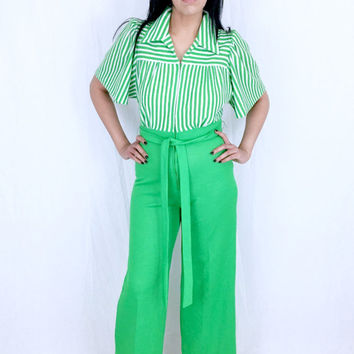 Vintage 70s Strait Lane White and Green Striped Gauze Polyester Stretch Knit Collared High Waisted Wide Leg Palazzo Jumpsuit M // S