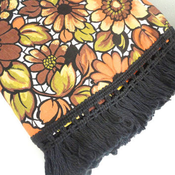 "Vintage tablecloth round floral and  fringed in orange, brown, yellow and black 63"" bold 1960s design"