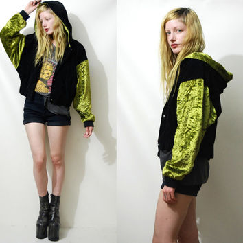 90s Vintage HOODED Bomber Jacket VELVET Green Black Slouchy Cropped Coat Club kid Grunge Hoodie 1990s vtg S M L