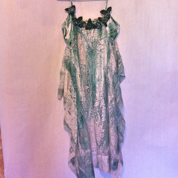 Bohemian Dress Upcycled Slip Dress Up Cycled Boho Dress Artsy Fairy Dress Wedding Dress Tattered Pixie Gypsy Dress Upcycled Dress