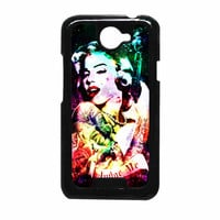 Marilyn Monroe Tattooed Flower With Pistol Gun Collage HTC One X Case