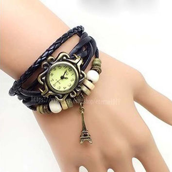 The Eiffel Tower watch -leather wrap watch, leather band wrist watch, women wrist watches with vintage ,leaf, Leather watch bracelet