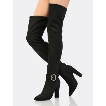 Faux Suede Buckle Accent Thigh High Boots BLACK