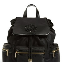 Women's Tory Burch 'Stacked T Logo' Nylon Backpack - Black