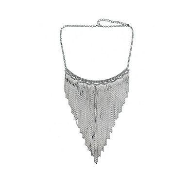 European Fashionable Big Brand Necklace Classic Metal Tassel Necklace Rock and Roll Punk Performance Ornament  silver