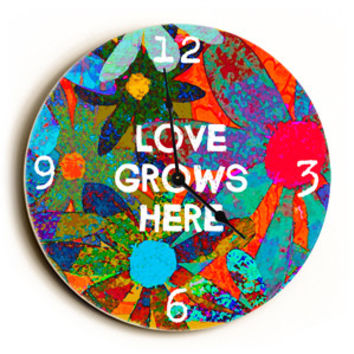 Love Grows Here Unique Wall Clock by Artist Lisa Weedn