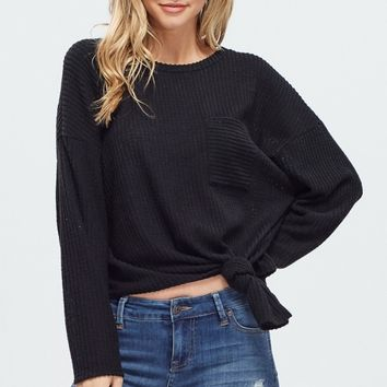 Thermal Knit top with Front Tie - Black
