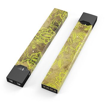 Skin Decal Kit for the Pax JUUL - Brown and Lime Green Floral Damask Pattern