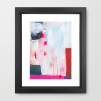 Red Dots Abstract  Framed Art Print by Karin Lauria