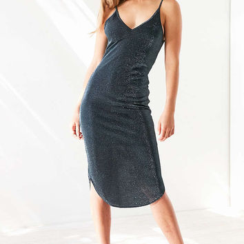Silence + Noise Metallic Sparkle Bodycon Midi Dress - Urban Outfitters