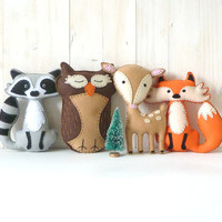 40% OFF: Woodland Stuffed Animal PATTERNS, Hand Sewing Felt Fox Owl Deer Raccoon Plushie Patterns, Deer Fox Owl Raccoon Softie Patterns