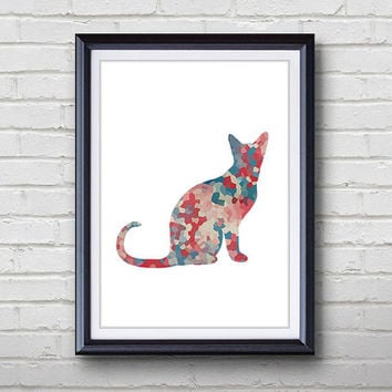 Cat Print - Home Living - Animal Painting -  Cat Animal Art - Wall Decor - Home Decor, House Warming Gifts