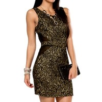 Black/Gold Floral Foil Dress