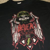 Sale!! Vintage SLAYER Band Heavy Metal Hard Rock Concert t shirt music cotton tee Size XL Free US Shipping