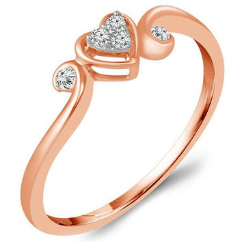 Ben Garelick Rose Gold Heart Shape Swirl Promise Ring