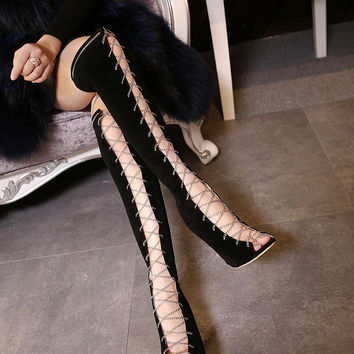 Sophisticated Black Velvet Open Toe Boots Stilettos Heels