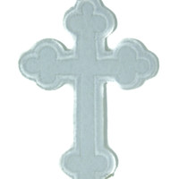 Gothic White Cross Patch Iron on Applique Occult Clothing