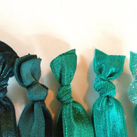 Teal Turquoise Teal Ombre Glitter Hair Ties Tie Set by emmaflhair
