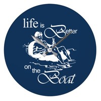 Life is Better on The Boat Funny Rowboat Cartoon Large Clock