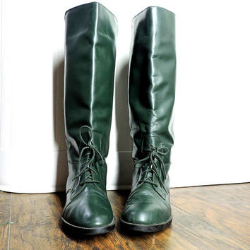 Hunter green leather riding boots / size 7.5 US / 40 EU / tall lace up leather boots / Brazilian made equestrian boots / dressage boots