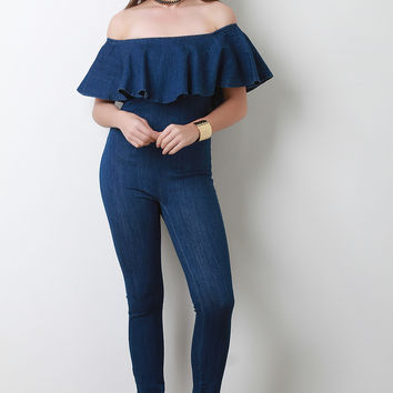 Denim Off-The-Shoulder Ruffle Fitted Jumpsuit | UrbanOG