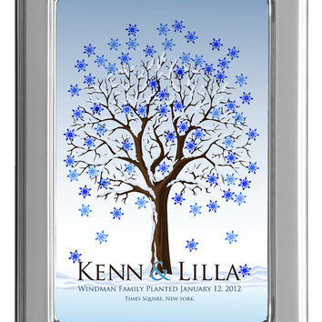 WEDDING TREE winter guest book, fingerprint tree winter guest book, fingerprint guest tree, Thumbprint guestbook, 16x20 num.114