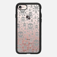 Glitter Silver Skulls Transparent iPhone 7 Case by Alice Gosling | Casetify