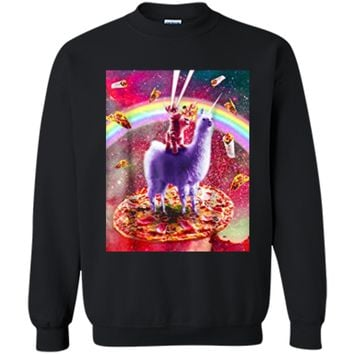 Laser Eyes Outer Space Cat Riding On Llama Unicorn  Printed Crewneck Pullover Sweatshirt