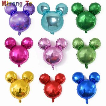 10 pieces Mini Mickey Minnie Mouse Head Aluminum Foil Balloons Helium Balloons Birthday Party Decoration Balloons Supplies
