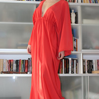 Handmade one size plus size long RED elastic tricot jersey lycra maxi queen dress/Made to order