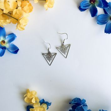 Third Eye Laser Cut Triangle Earrings