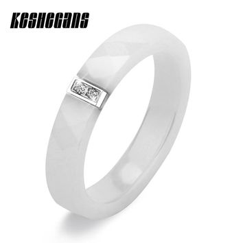 Fashion Jewelry 4mm Wide Multiple Sections Ceramic Ring With 2 Crystals Black White Pink Color For Women Girl Cute Simple Design