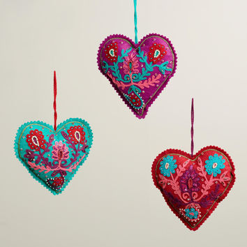 Felt Crewelwork Heart Ornaments, Set of 3 - World Market