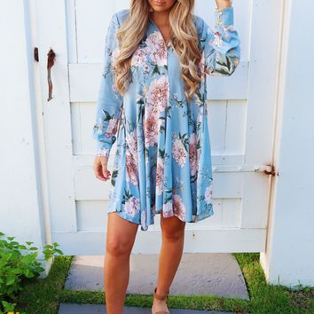 Here For Picking Tunic: Sky Blue/Multi