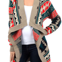 Aztec Tribal Draped Cardigan from Rad and Lux