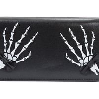 Banned Gothic Lolita Skeleton Hands with Black Bow Zip Around Wallet