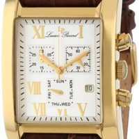 Lucien Piccard Men's 98041-YG-02S Classico Chronograph Silver Dial Brown Leather Watch